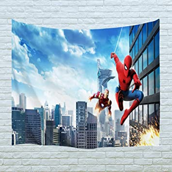Procida Home Tapestry Wall Hanging Nature Art Polyester Fabric Spiderman Theme Wall Decor For Dorm Room Bedroom Living Room Nail Included 90 W