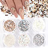 Holographic Nail Art Sequins Glitter Kits 6 Boxes 3D Nails Glitter Metallic Shining Flakes Acrylic Powder Dust Sequins for Na