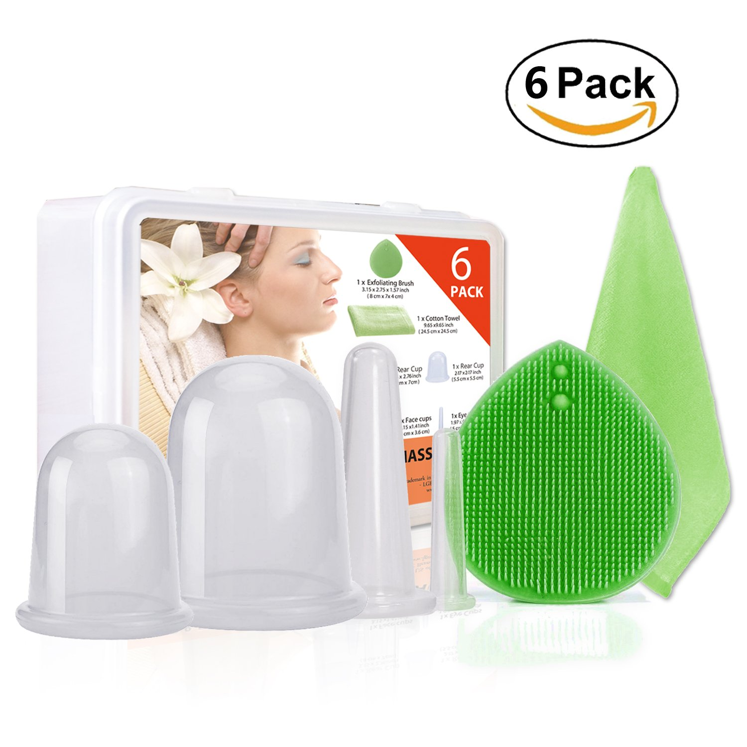 Anti-Aging Massage Cups,4pcs Silicone Massage Cups with Facial Cleaning Brush and Bamboo Towel by SWISSELITE (Image #1)