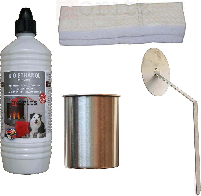 Moritz Starter Set 1 x 1000 ml de bioetanol + 1 x Lata de acero ...