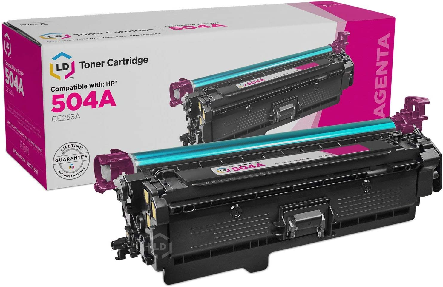 LD Remanufactured Toner Cartridge Replacement for HP 504A CE253A (Magenta)