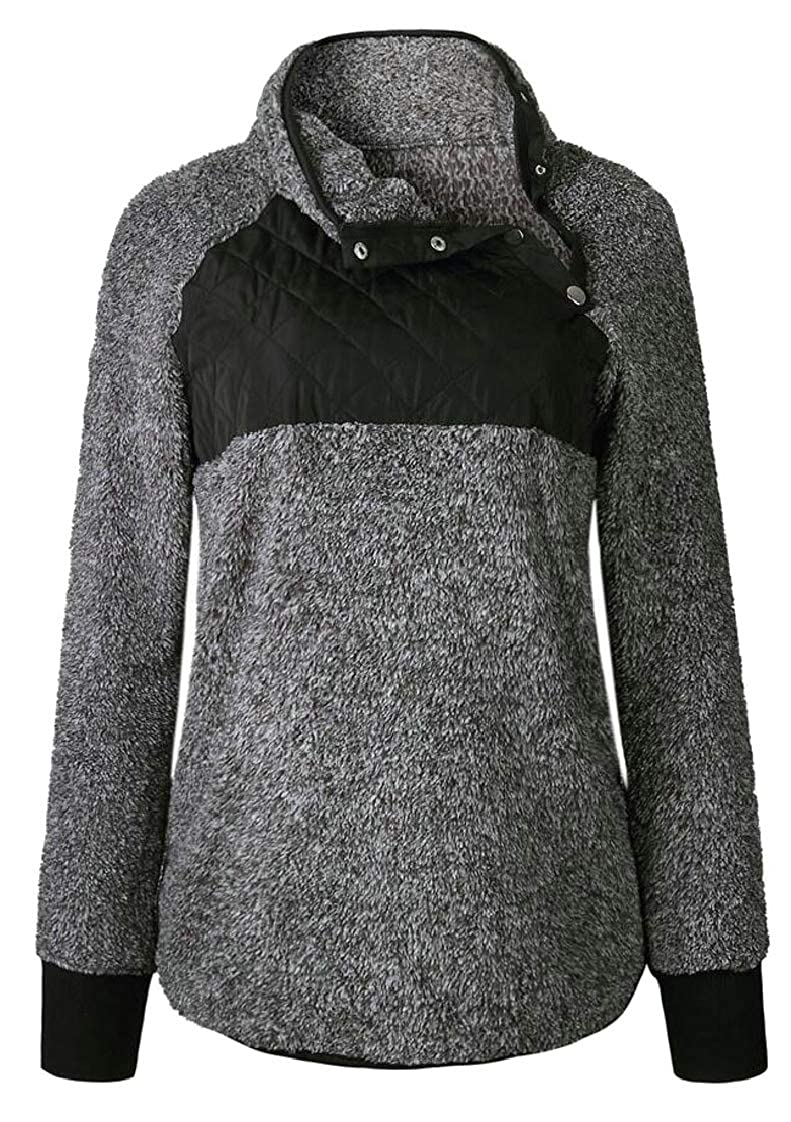 M/&S/&W Womens Stand Collar Buttons Fleece Pullover Sweatshirt with Pockets