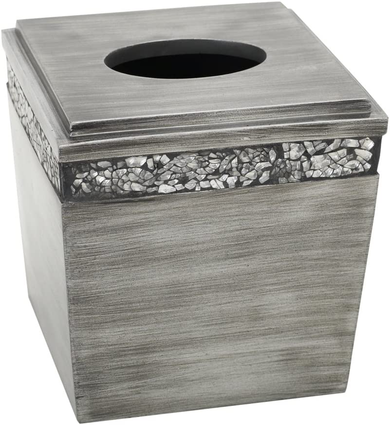 Zenna Home India Ink Altair Tissue Box Cover, Pewter