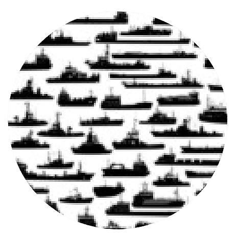 alfombrilla de ratón Vector conjunto de 55 siluetas de remolcador mar y los barcos - ronda