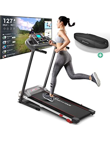 Sportstech F10 Treadmill - German Quality Brand - Video Events & Multiplayer APP, 18°- slope in 3 steps, lubrication system, pulse belt, 1PS, 10 km/h, walk and runtraining with 13 programs, foldable