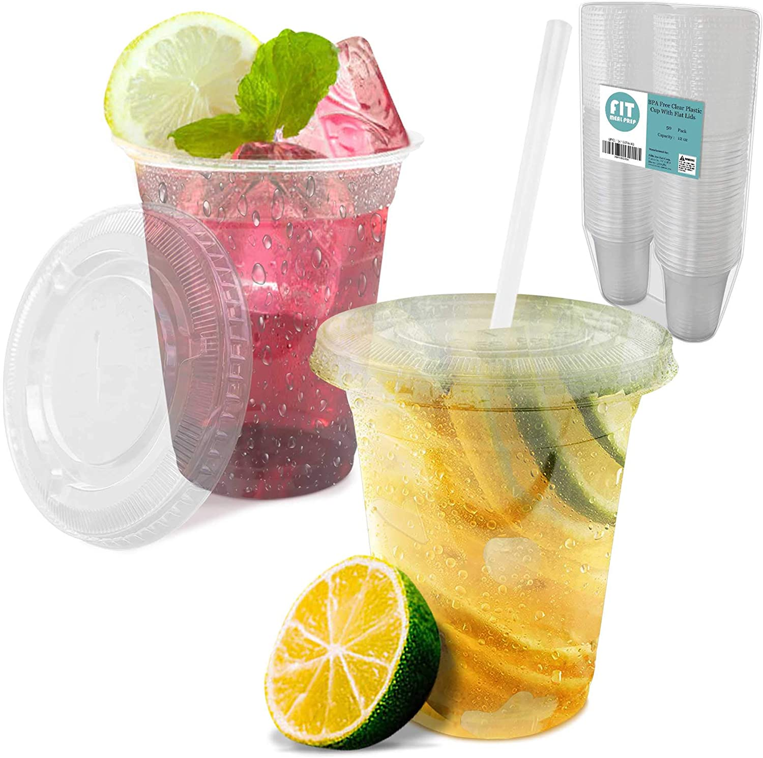 [50 Pack] 12 oz Clear Plastic Cup with Lid - BPA Free Take Out Container for Iced Cold Drink Coffee Tea Juice Smoothie Bubble Boba Frappuccino, Disposable and Crack Resistant