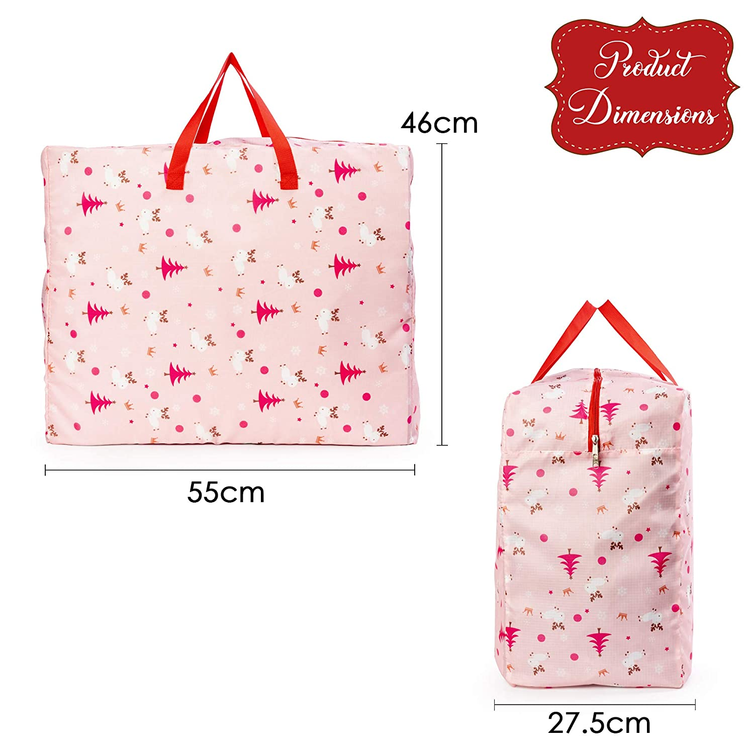Perfect for Carrying THE TWIDDLERS Pack of 2 Xmas Themed Storage Bags Decorations Storage /& Toys