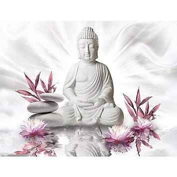 Fototapeten Buddha Blumen 352 x 250 cm - Vlies Wand Tapete ...