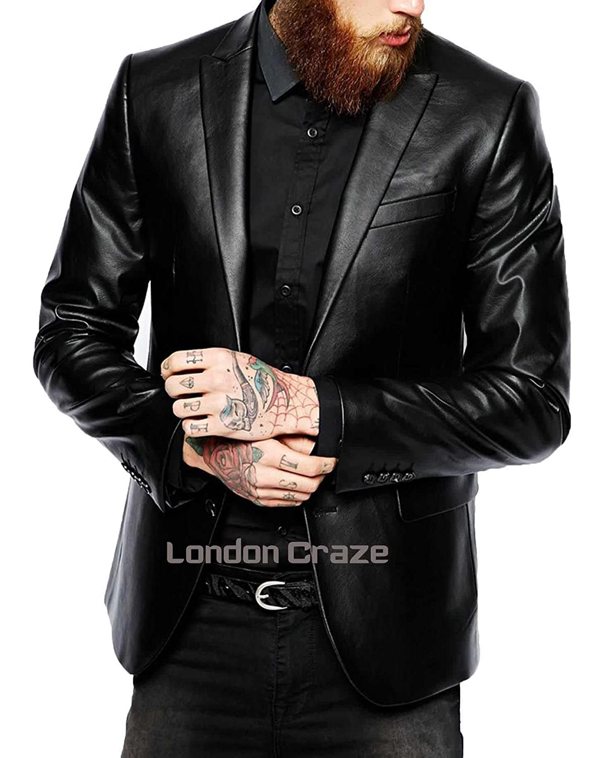 London Craze Mens Stylish Lambskin Genuine Leather Blazer Coat 22
