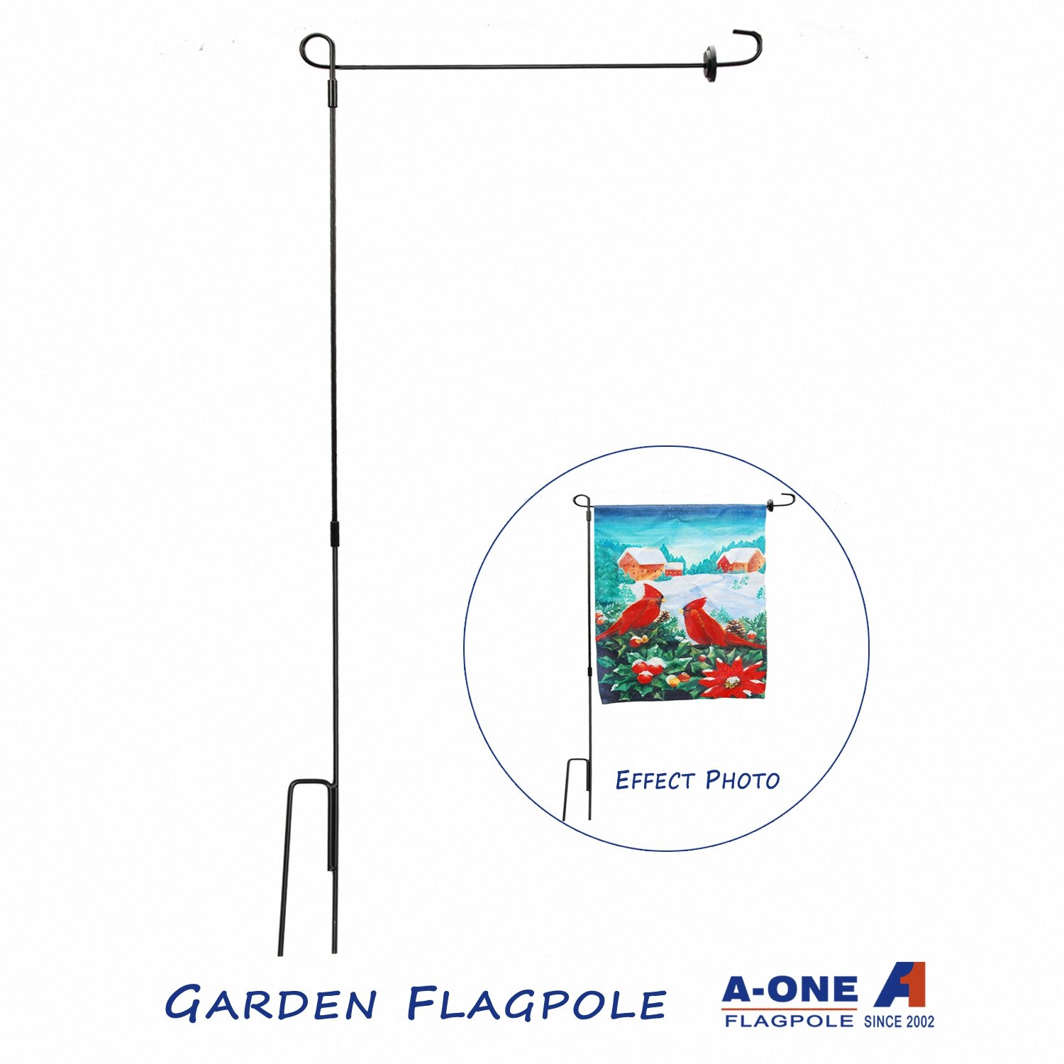 A-One 41'' H x 17'' W Garden Flag Pole Stand with Flag Stopper Free - American US Heavy Duty Metal Wrought Iron Outdoor Flagpole Holder Kit, Weather-Proof Material, Black (3 Piece Set, Easy to Storage)