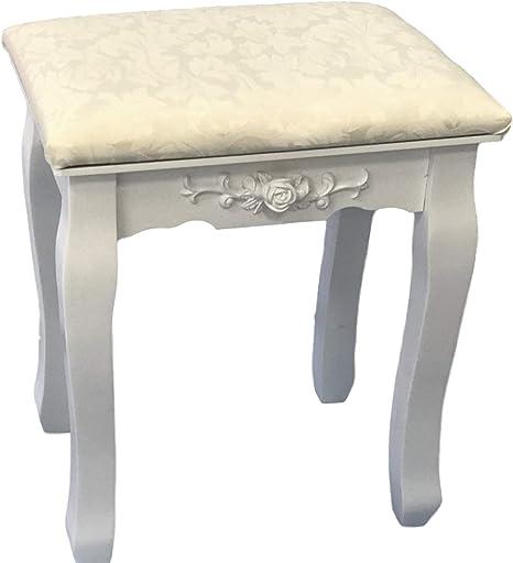 ViscoLogic Makeup Chair Dressing Miracle Stool White Solid Wood Makeup  Stool Bedroom Vanity Stool