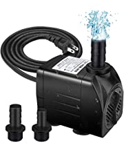 LingsFire 400GPH Submersible Pump 25W Fountain Water Pump 48 Hours Anti Dry Burning Ultra Quiet Aquarium Fish Pond Hydroponic Pump for Statuary Hydroponics with 5.9ft Power Cord, 2 Nozzles
