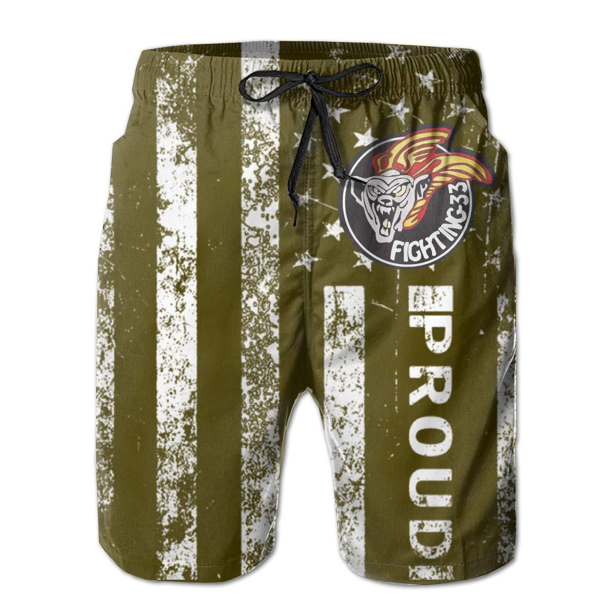 HANINPZ American Proud VF-33 Fighting 33 Mens Swim Trunks Beach Short Board Shorts