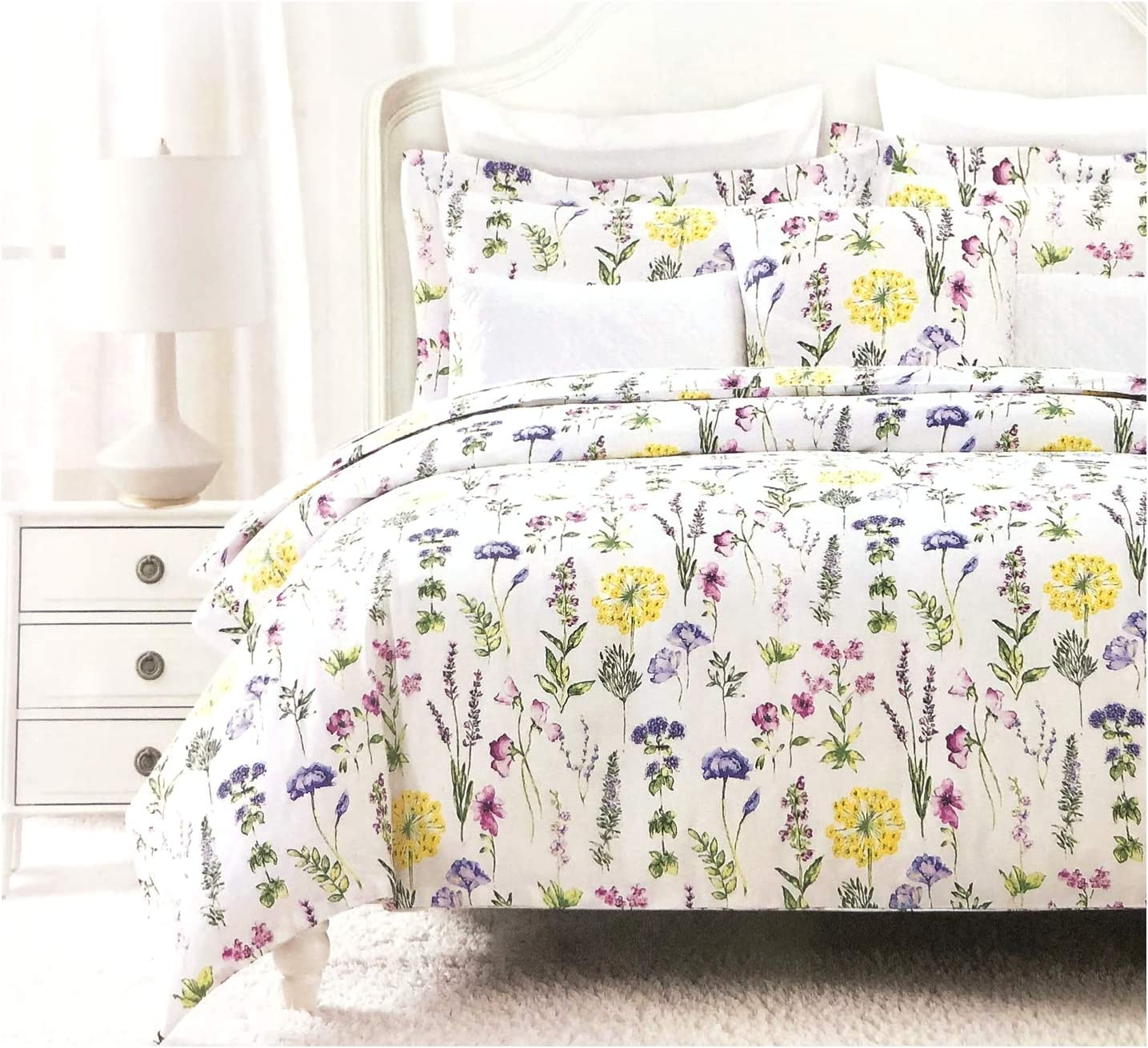 Nicole Miller Modern Farmhouse Bedding French Countryside Floral Toile Print Pure Cotton Duvet Quilt Cover Set Colorful Garden Wildflower Watercolor Illustration Vintage Flower (Queen, Multicolor)