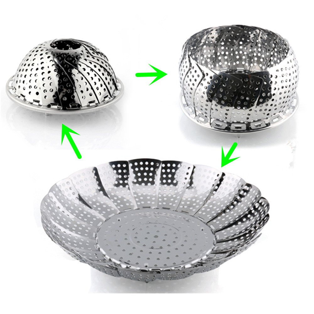 Kitchen Vegetable Steamer, Zyurong Stainless Steel Foldable Food Steamer Basket Fruit Container with Extendable Handle - Fits Most Pots