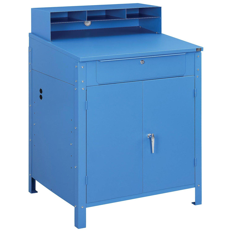 Shop Desk w/Lower Cabinet, Pigeonhole Compartments, 34-1/2''W x 30''D x 51-1/2''H, Blue