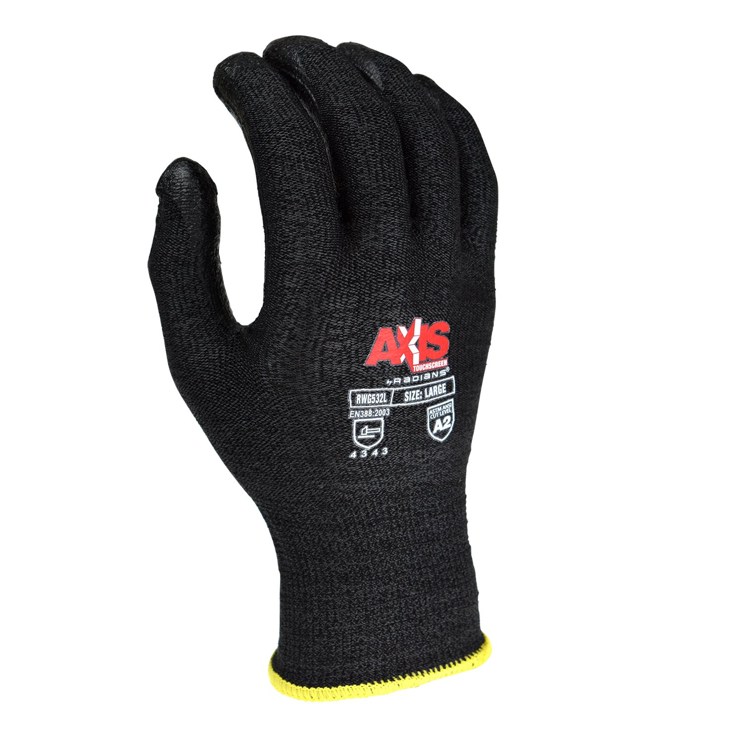 Radians RWG532L Axis Touchscreen Cut Protection Level 3 Work Glove, Large
