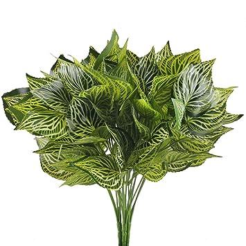 Mihounion Kunstpflanzen 4pcs Kunstliche Pflanzen Gross 5 Gabel Grun