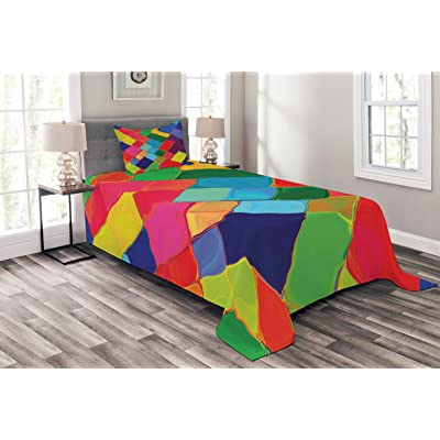 Lunarable Geometric Bedspread, Abstract Colorful Tile Splash Futuristic Brush Painting Effect Children Artwork, Decorative Quilted 2 Piece Coverlet Set with Pillow Sham, Twin Size, Multicolor: Home & Kitchen