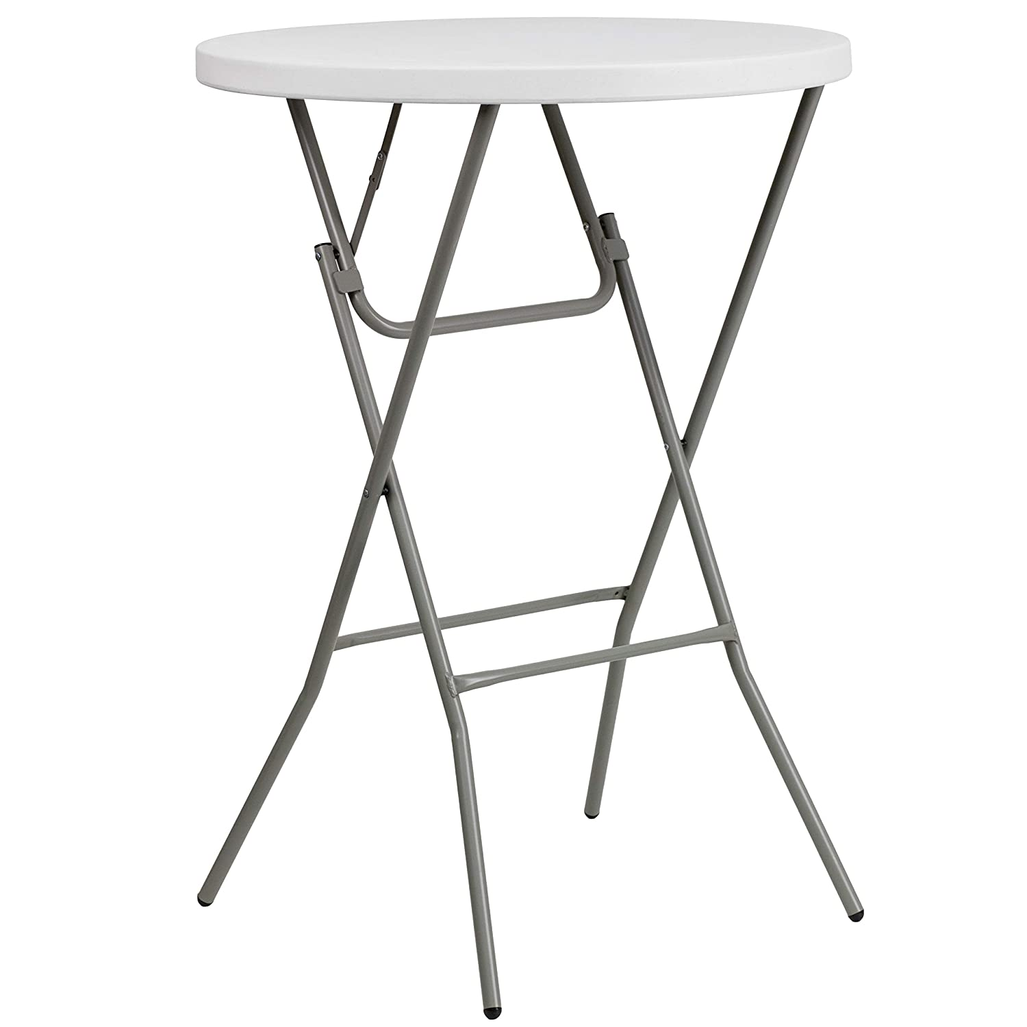 Flash Furniture 3-Foot Round Granite White Plastic Bar Height Folding Table