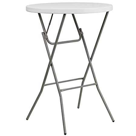 Flash Furniture 32 Round Granite White Plastic Bar Height Folding Table