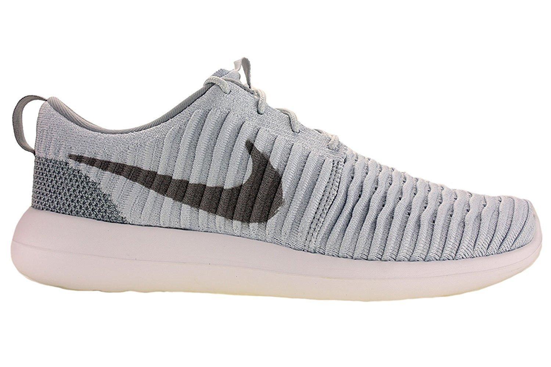 Uomo Nike Roshe Due Scarpe Flyknit Corsa Grigio Platino Puro / Lupo / Bianco 844.833-011 Dimensioni 9.5
