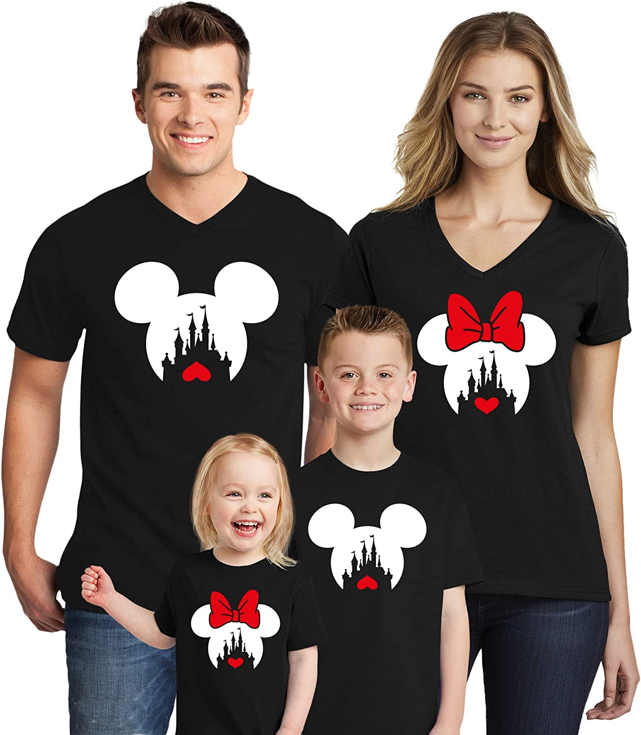 B07NTS4H1G Natural Underwear Family Trip #2 Mickey Mouse Minnie Mouse with Heart Family Vacation 2020 Couple Matching Crew Round Neck T Shirts Black Kids-Girls 4T 71xY026WIJL