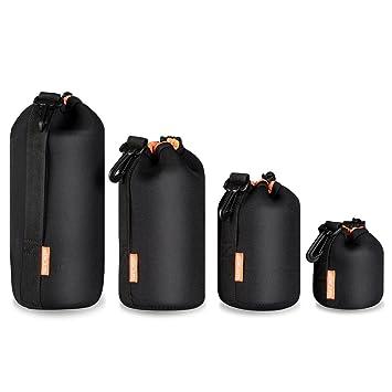 (4 Piezas) K&F Concept Set Funda Objetivos Protección Neoprene Grueso para DSLR Cámara Lente (Canon, Nikon, Pentax, Sony, Olympus, Panasonic) - ...