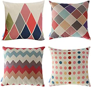 """WOMHOPE 4 Pcs - 17"""" Colorful Geometry Style Cotton Linen Square Throw Pillow Case Decorative Cushion Cover Pillowcase Cushion Case for Sofa,Bed (Geometry B (Set of 4))"""