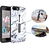 IPHONE 7 PLUS / IPHONE 8 PLUS Bergman Uno Dual Pro Case / Finger Strap Case / Finger Ring Band With Kickstand Case / Rugged Case / Dual Layer Finger Ring Loop Strap Case / Grip Case (White Marble)