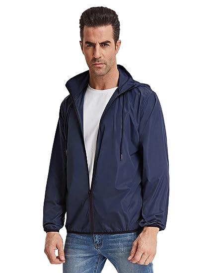 Homme Veste Légère Couleur Unie Manche Longue imperméable Taille S Bleu  Foncé ff6adc19e50f