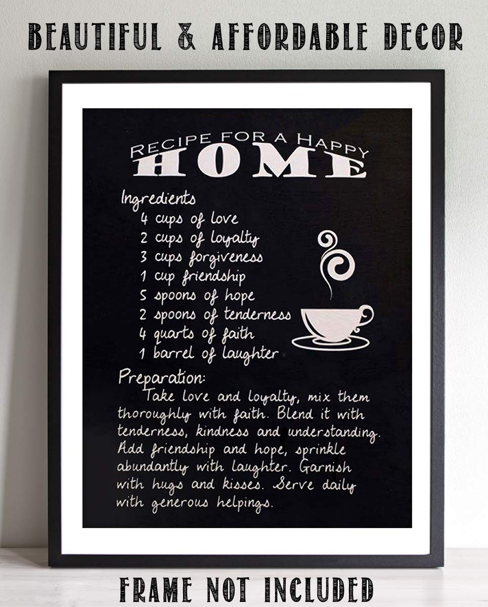 Amazoncom Recipe For Happy Home Family Wall Art Sign 8 X 10