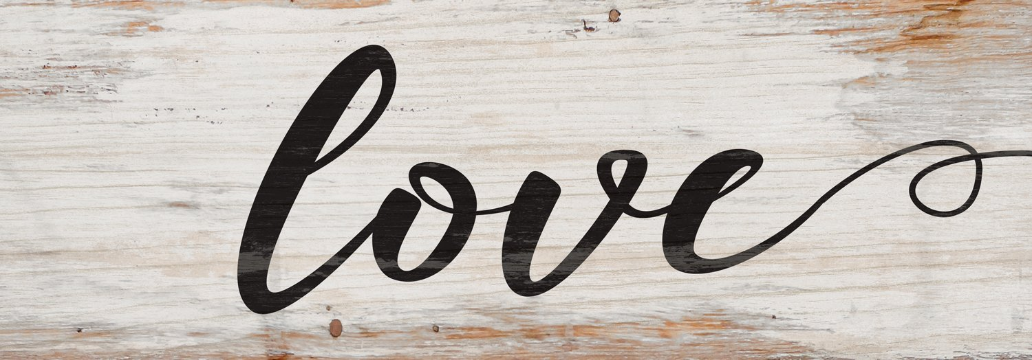Love Script Design White Wash 16 x 6 Inch Solid Pine Wood Plank Wall Plaque Sign