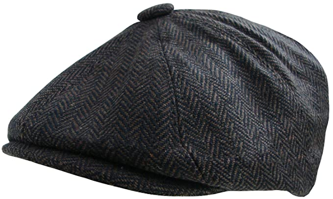 454c262a97a Mens Herringbone Baker Boy Cap Peaked Newsboy Hat Gatsby Flat Cap Button Top  Hat (56