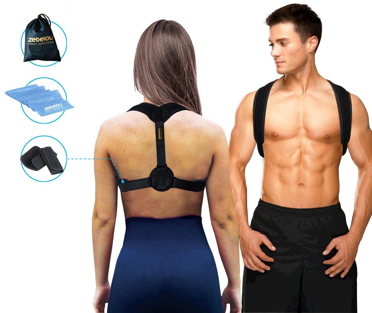 Premium Posture Corrector & Under Clothes Back SupportBrace for Women Men & Kids + A Resistance Band- Adjustable Clavicle Brace Unnoticeable & Comfortable Shoulder Support for Improving Posture