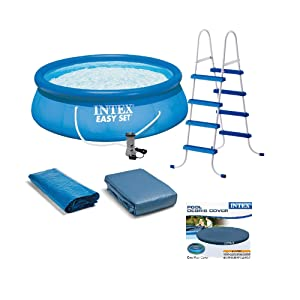 Intex Above Ground Swimming Pool, Ladder with Pump and 15' Pool Debris Cover