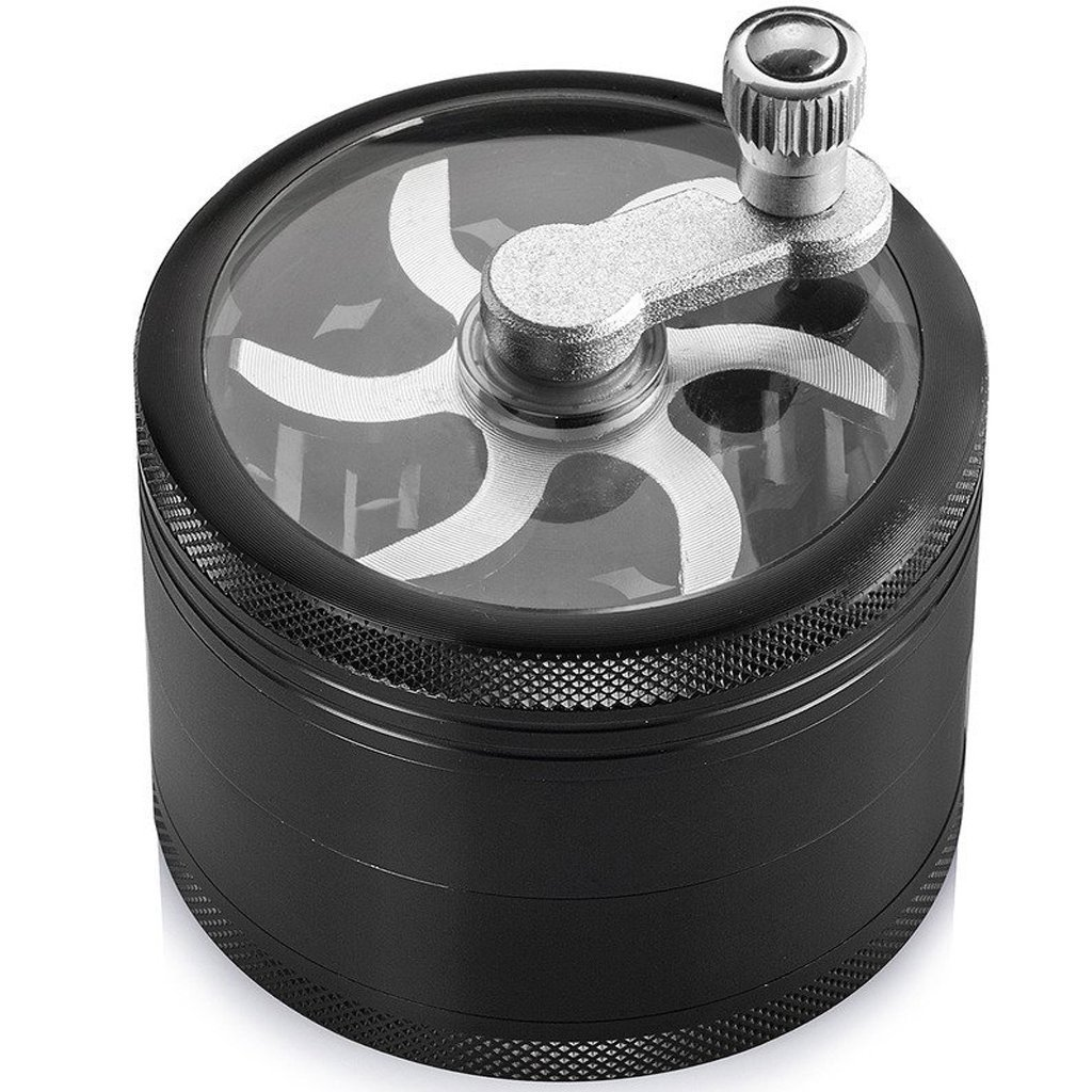 Siasky Spice Grinder with Mill Handle 4 Layers 2.5 Inches Zinc Alloy(Black)