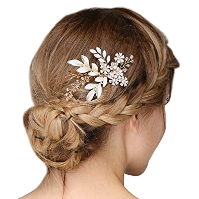 Jaoswish Vintage Silver Hair Comb Handmade Crystal Rhinestone