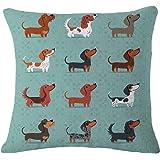 Nunubee Süße Hunde Tier Baumwolle Leinen Dekor Kissenbezüge Kissenbezug Kissenhülle, Dackel Hunde 3