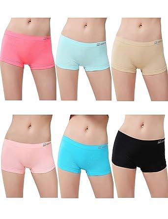 71xY2ggjwAL._UX342_ women's 6 pack sports boy short cut hipster panties seamless boxer,Womens Underwear Amazon