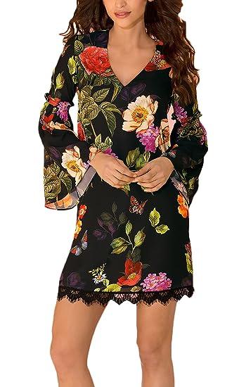 Vestido Mujer Elegantes Sencillos Diario Estampado Flores Vestidos De Fiesta Casual Manga Larga V Cuello Trompeta Manga Moda Bonita Primavera Otoño Mini ...