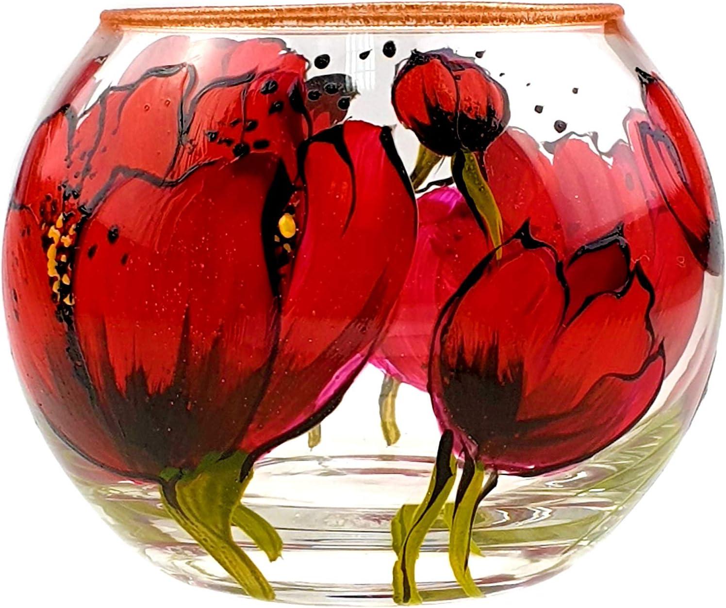 Inconnu Victoria Bella Vase Fait Main avec bougeoir Coquelicot Rouge avec Strass