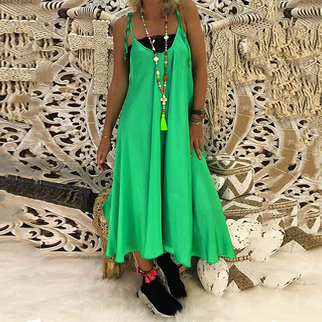 Women Vintage/ Boho Dress Casual Sleeveless Ruffled Bandage V-Neck Loose Sling Maxi Dress