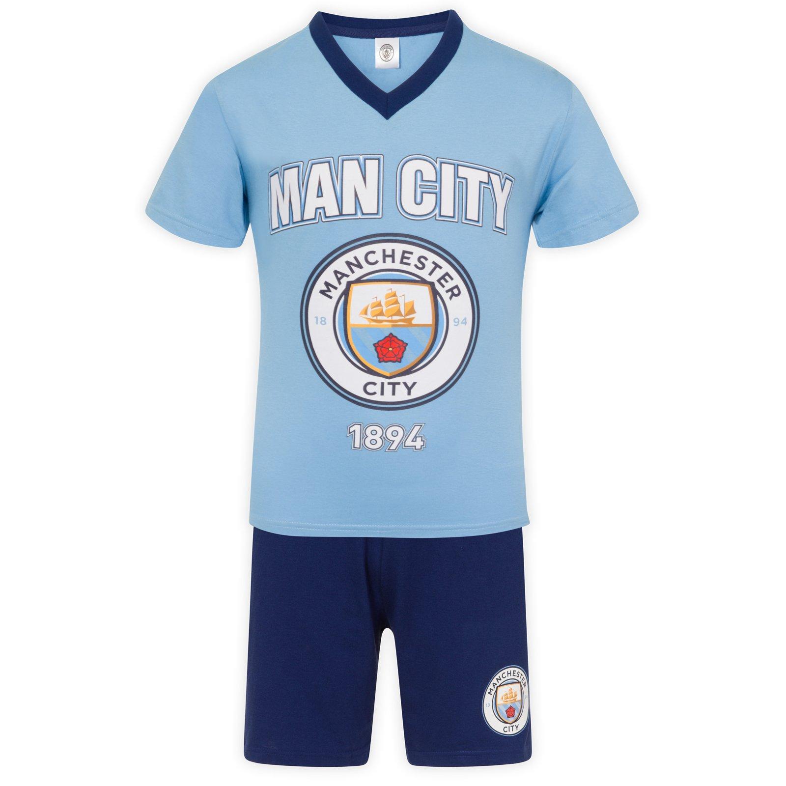 Manchester City FC Official Gift Mens Loungewear Short Pajamas Blue XL