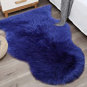 Noahas 2ft x 3ft Faux Fur Sheepskin Rugs Luxury Fluffy Rug for Bedroom Sofa Chair Cover Fuzzy Throw Home Decor Small Shaggy Carpet, Navy Blue