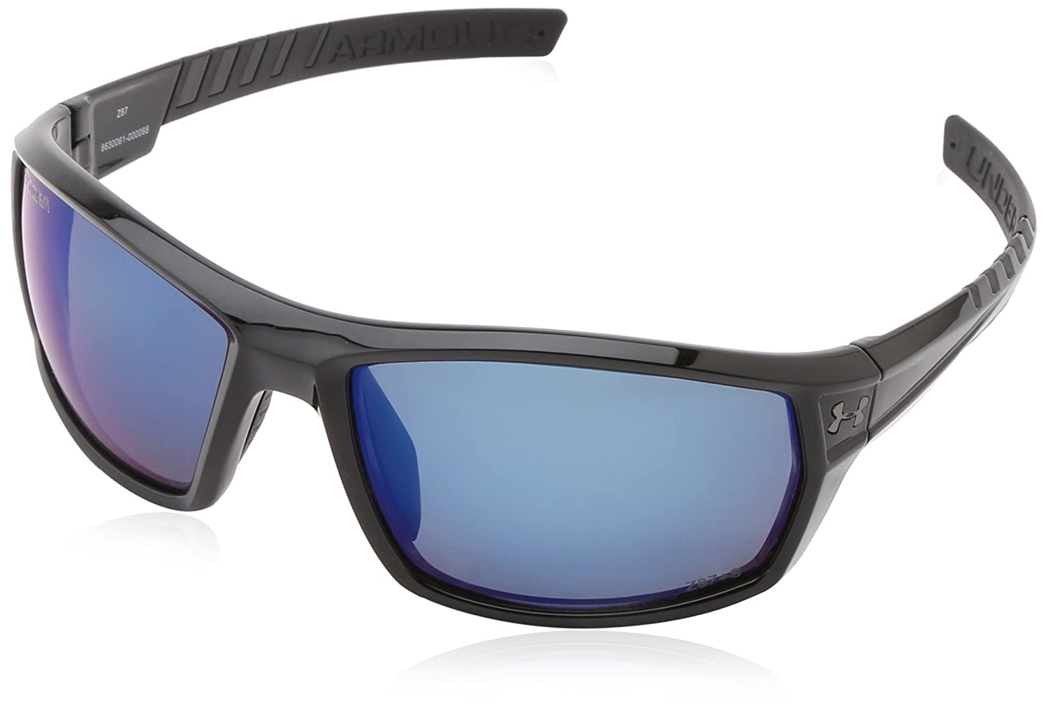 60bdfb00303d6 Under Armour Ranger Storm (ANSI) Rectangular Sunglasses Shiny Black Frame  with Black Rubber Gray Polarized and Blue Mirror Lens  Amazon.ca  Clothing    ...