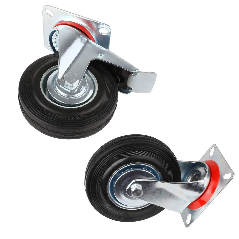 Miafamily ruedas de transporte carga pesada ruedas, ruedas & Rueda Giratoria Con Freno, goma, galvanizado Plata/Negro 4 Unidades en Set, 75 mm: Amazon.es: ...