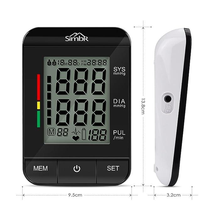 SIMBR Tensiómetro electrónico Brazo automático USB con Suministro, Dos Mode de usuarios y repetición de Memoria de 180 Datos stockées: Amazon.es: Bricolaje ...