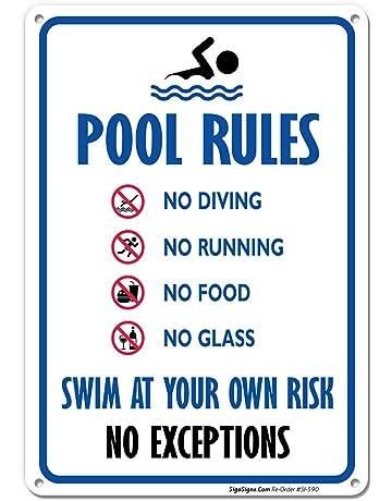 2f91dfd2ddd Pool Rules Sign, No Diving No Running No Food No Glass, 10x14 Rust Free