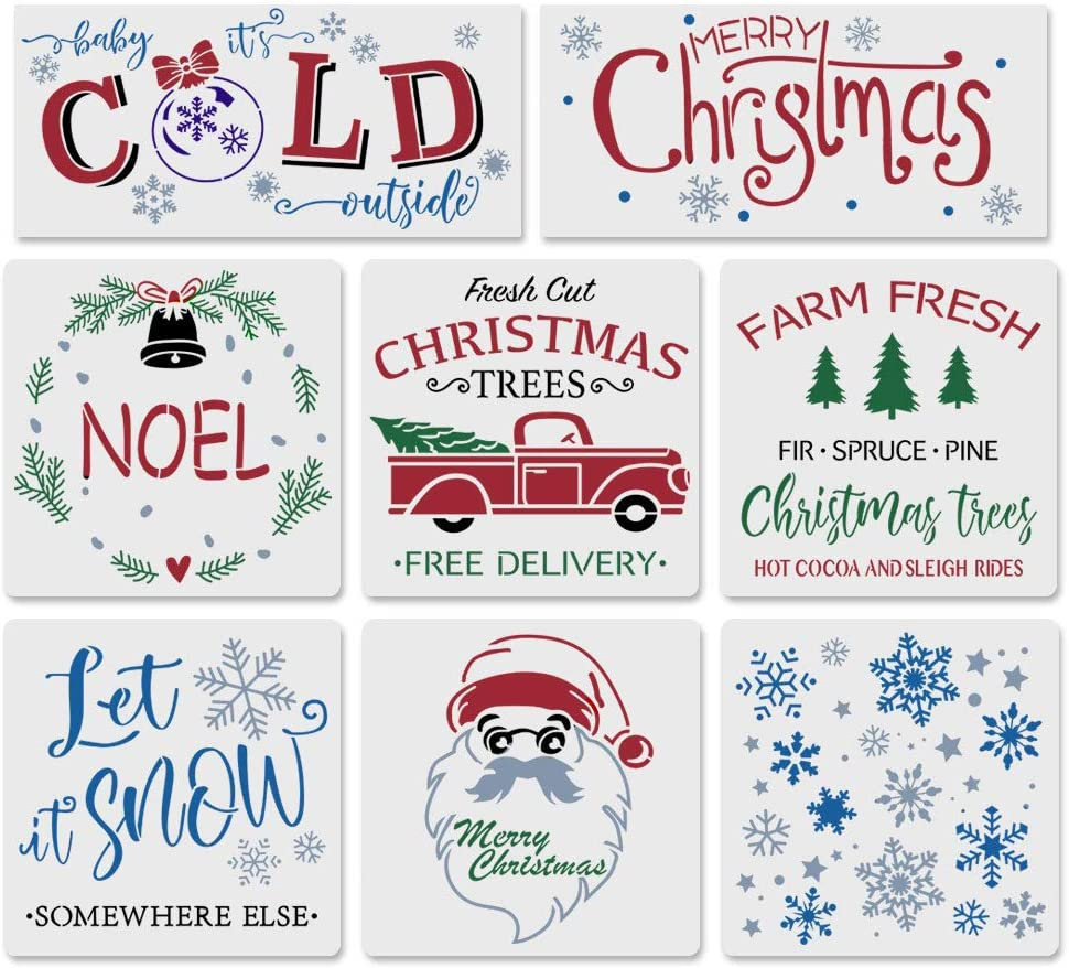 8PCS Reusable Christmas Stencils-Merry Christmas Stencils Including Let It Snow/Santa/Noel/Snowflakes/Retro Truck Christmas Tree Stencils,Make Your Own Farmhouse Projects